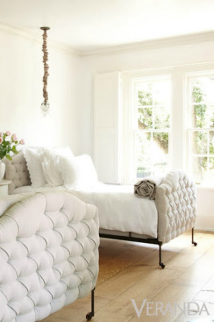 Tufted upholstered bed in romantic French Country bedroom by Pamela Pierce - found on Hello Lovely Studio