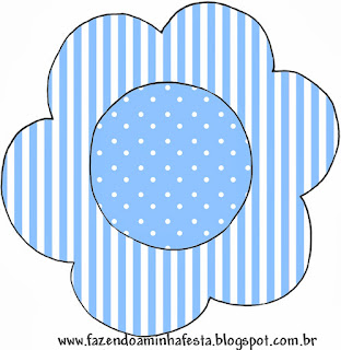 Light Blue with White Polka Dots and Stripes: Free Printable Wrappers and Toppers.