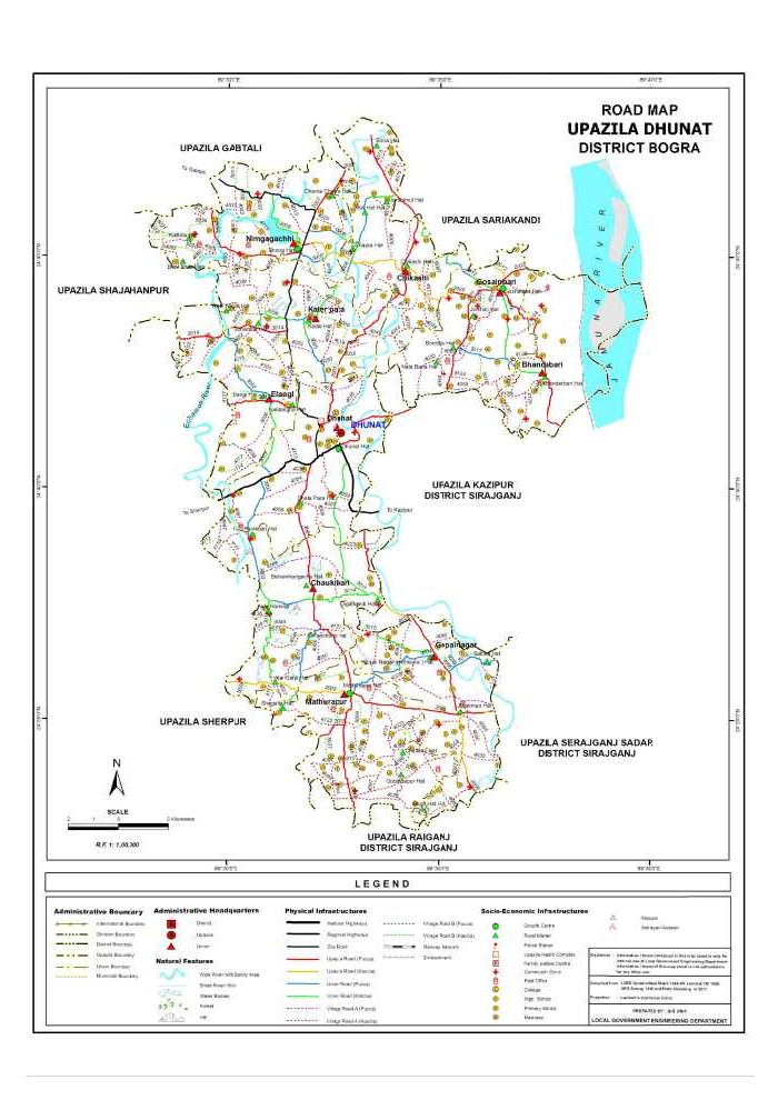 Dhunat Upazila Road Map Bogra District Bangladesh