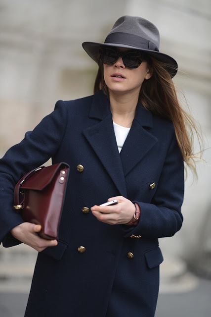 trench-coat navy and hat