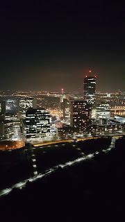 Vienna Skyline at night from the Donautrum Viewing Tower