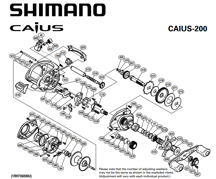 Shimano Caius 200 Schematics Most Complete Fishing Reels