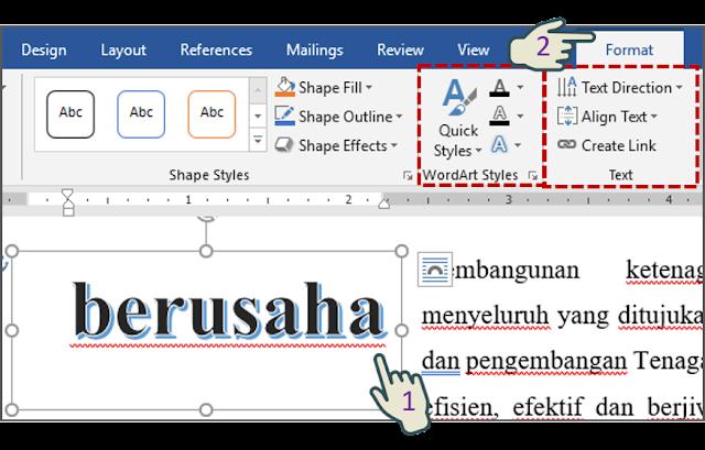 Memformat Teks Objek WordArt