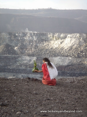 ceremonial offering to Pele at Hawaii Volcanoes National Park on the Big Island