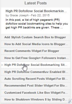 Sliding Recent Posts Blogger Widgets 2015