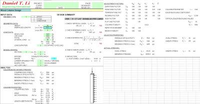 Excel para Diseño de columnas de madera