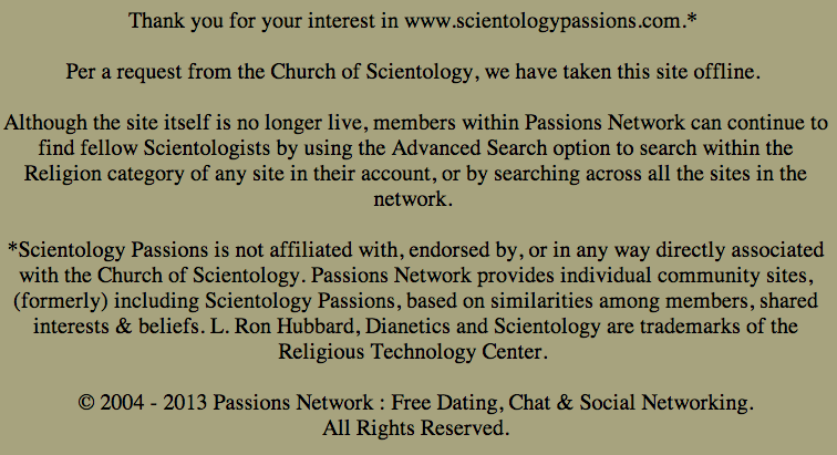 Scientology dating site