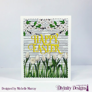 Divinity Designs Custom Dies: Happy Easter Caps Dies, Scalloped Rectangles, Paper Collection: Spring Flowers 2019