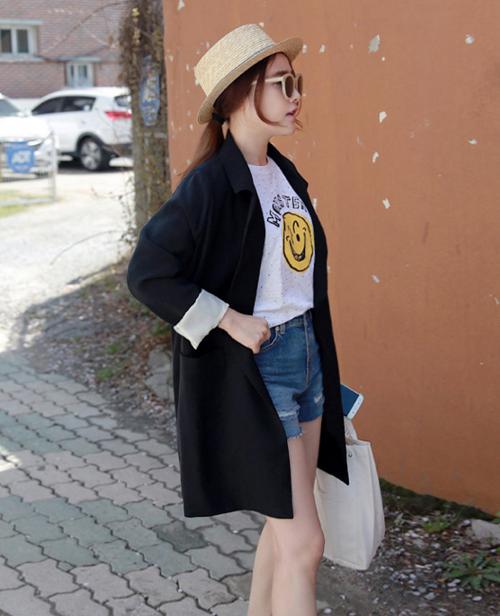 Basic Black Single-Breasted Coat