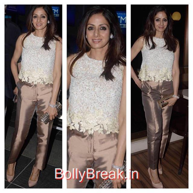 sridevi , manish malhotra , indian designer , ootd , o ot n , streets tyl e , street chic , lookbook , look of theda y , bollywood , bollywood ,actress indian fashion news ,, Sridevi in Golden Pants at Amar Singh Party