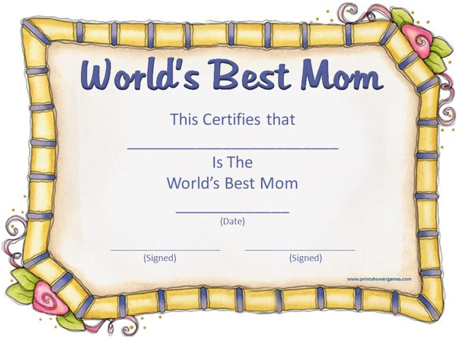 Mother S Day Certificates Let S Celebrate