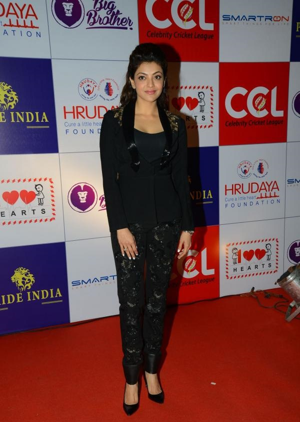 Kollywood Actress Kajal Aggarwal Smiling In Black Shirt At CCL Charity Event