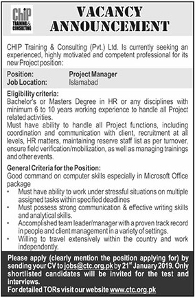 Jobs Vacancies In Chip Training And Consulting 16 January 2019