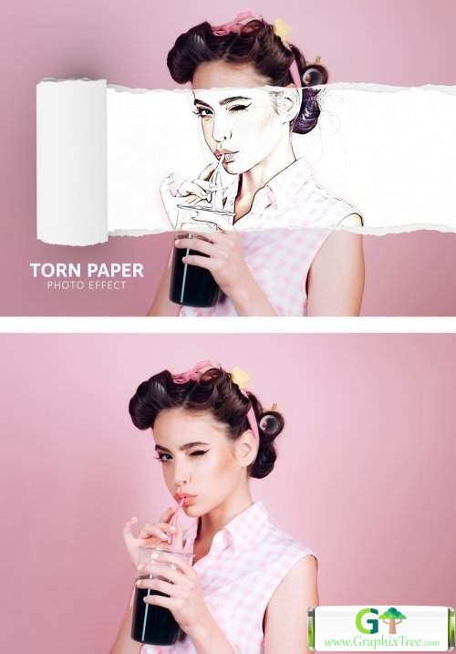 Comic Photo Effect with Torn Paper Mockup 371481516