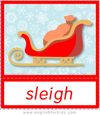 Sleigh, Christmas flashcards to learn English