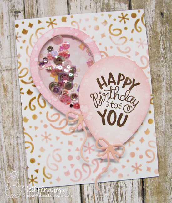Birthday Balloon Shaker Card by Holly Endress | Uplifting Wishes Stamp Set, Confetti Stencil and Balloon Shaker Die Set by Newton's Nook Designs #newtonsnook #handmade