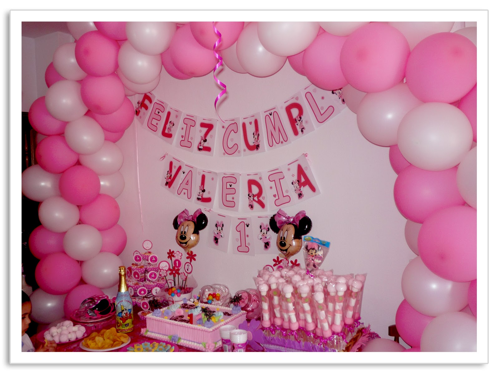 Baby nina fiestas fiesta tem tica minnie mouse para valeria - Motivos infantiles para decorar ...