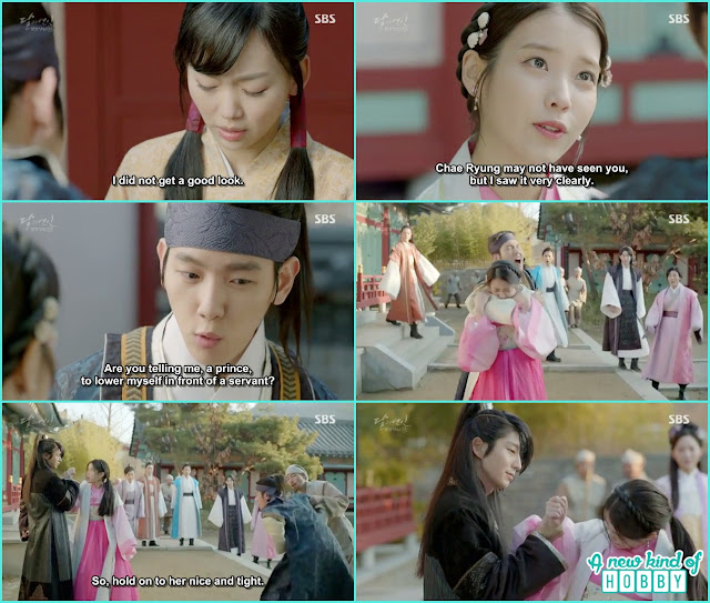 hae so and 10th prince fight , 4th prince grab Hae So hand to stop her - Moon Lovers: Scarlet Heart Ryeo - Episode 2 Review