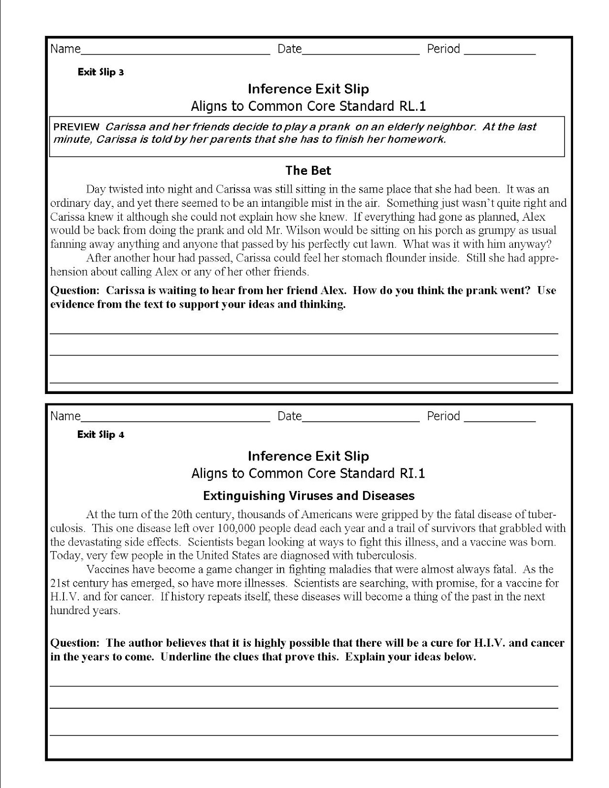 Literacy Amp Math Ideas Inference Common Core Exit Slips Grades 6 8