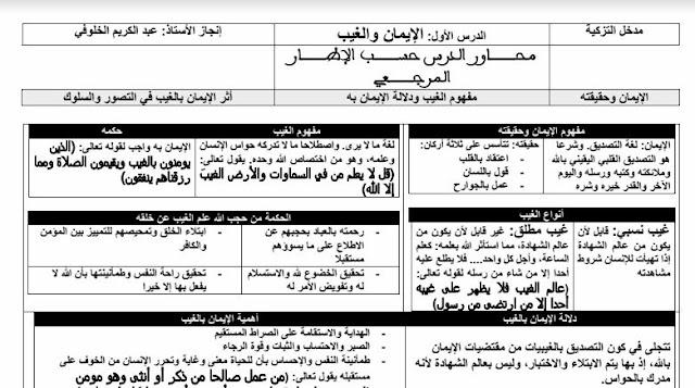 الأولى باكالوريا:تلخيص جميع دروس الامتحان الجهوي الدورة الأولى  التربية الإسلامية