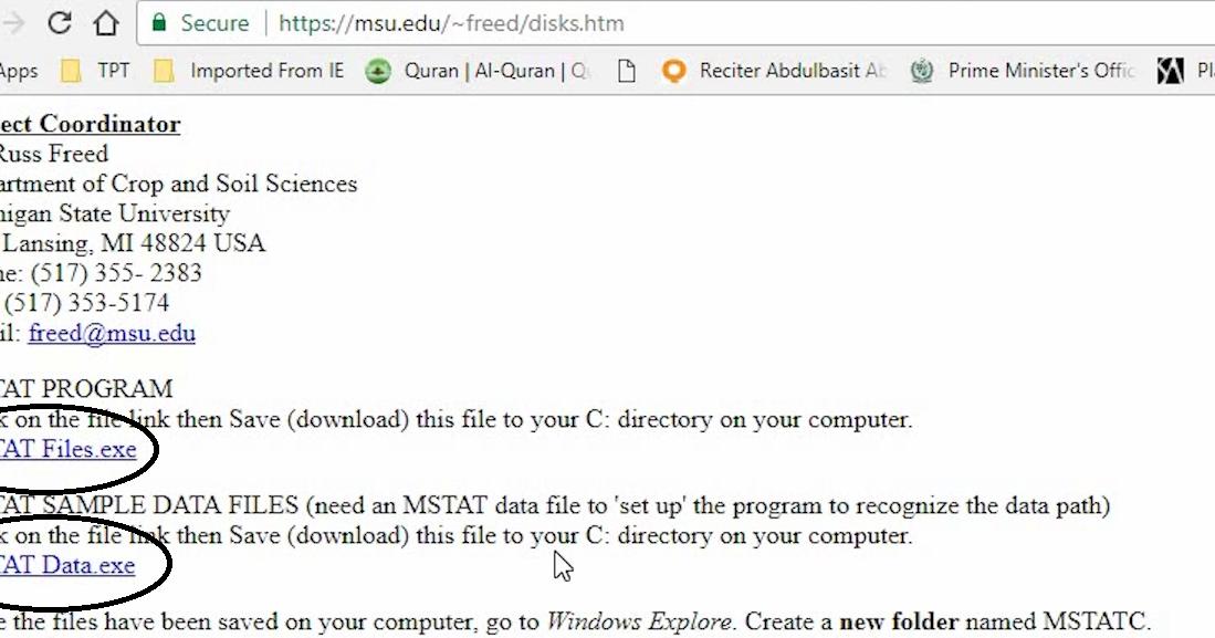 MstatC software 64 bit for win7