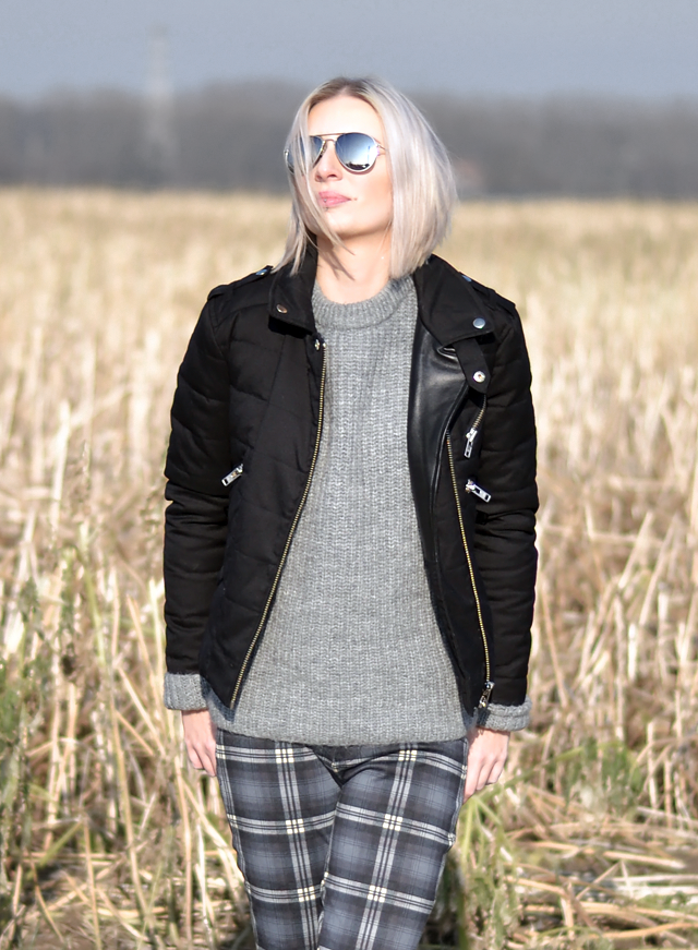 Wearing: The koopless, jacket, zara, knit, jumper, grey, mohair, tartan, trousers, converse all star black, mango