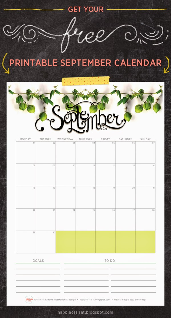 Happiness is... free printable September calendar and planner 2014