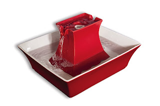 Red PetSafe Brand Drinkwell® Pagoda Pet Fountain.