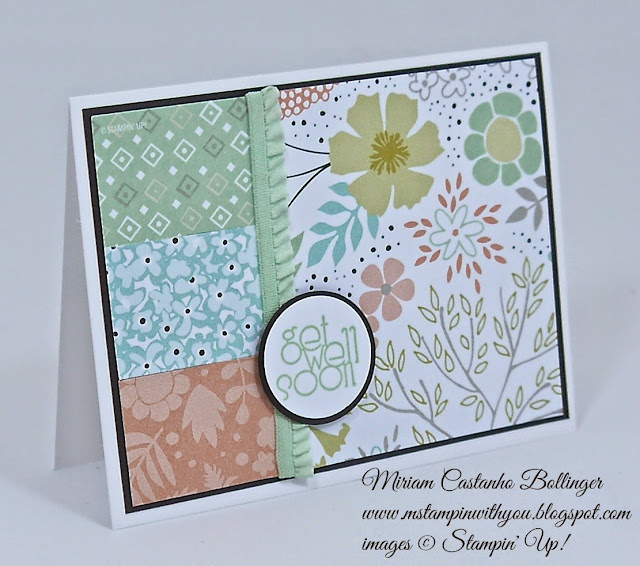 Miriam Castanho Bollinger, #mstampinwithyou, stampin up, demonstrator, ccmc 355, get well, sweet sorbet dsp, delightful dozen, circle punches, su