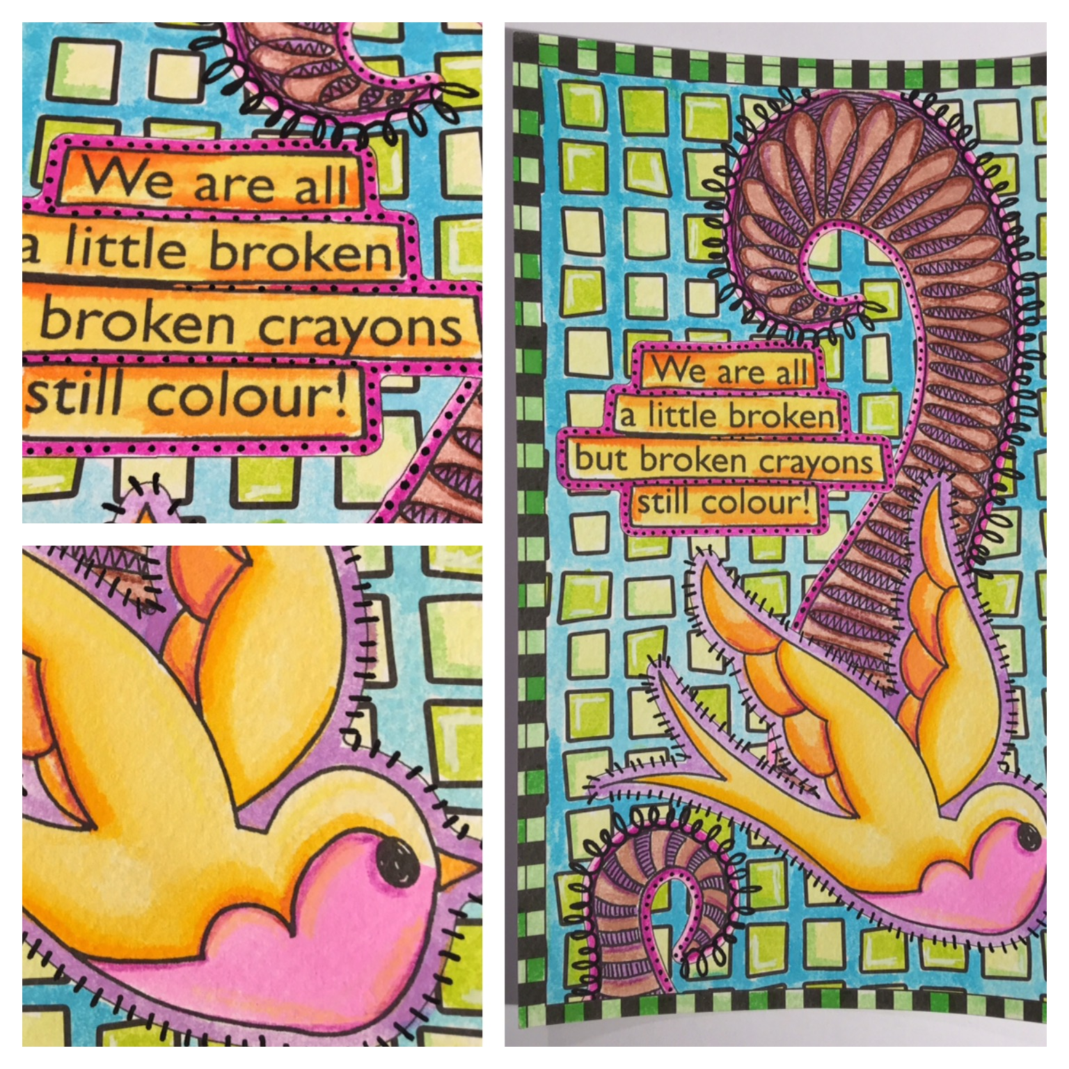 Long u coloring pages - We Have Added Doodles Using The Dylusions Black White Paint Pens Doesn T It Really Make The Pages Pop I Could Just Sit And Colour Them All Day Long