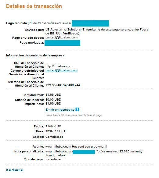 Paypal Comprobante de pago LittleBux