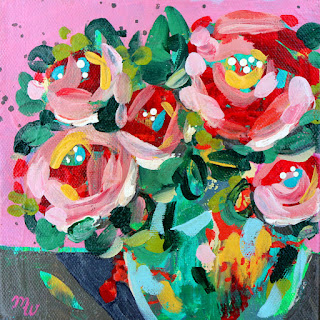 "Original joy-filled floral painting 6"" x 6"" acrylic on stretched canvas Framed with a natural wood floater frame, wired and ready to hang One in a series of framed floral mini paintings by Pennsylvania artist, Merrill Weber"