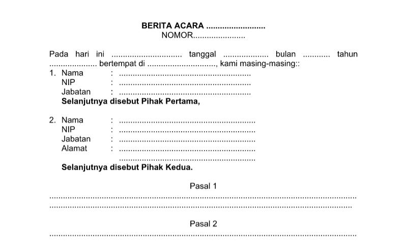 Bentuk Surat Berita Acara pada Administrasi TU (Tata Usaha) Sekolah Format Word (doc)