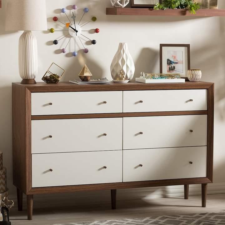 wooden and white mid century modern dresser