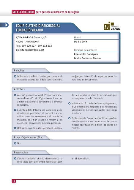 Xarxa de Suport a les Famílies Cuidadores de Tarragona: Equip d'Atenció Psico-Social (EAPS) Fundació Vilaniu