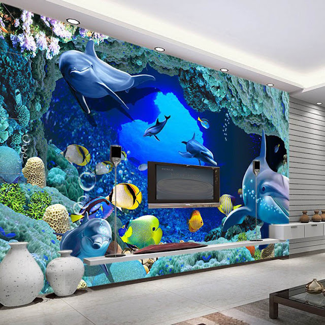 Dolphin Undersea wall mural 3d wallpaper 3d Dolphins underwater aquarium animal fish corall