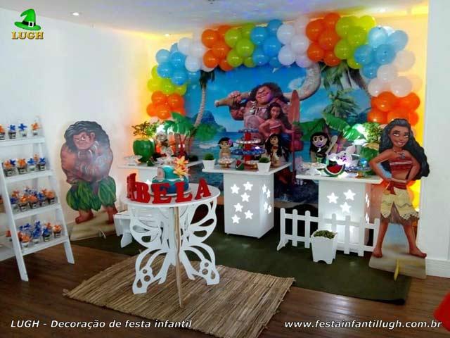 Decoração tema Moana para festa de aniversário infantil - Mesa decorada na zona Oeste - Barra - RJ