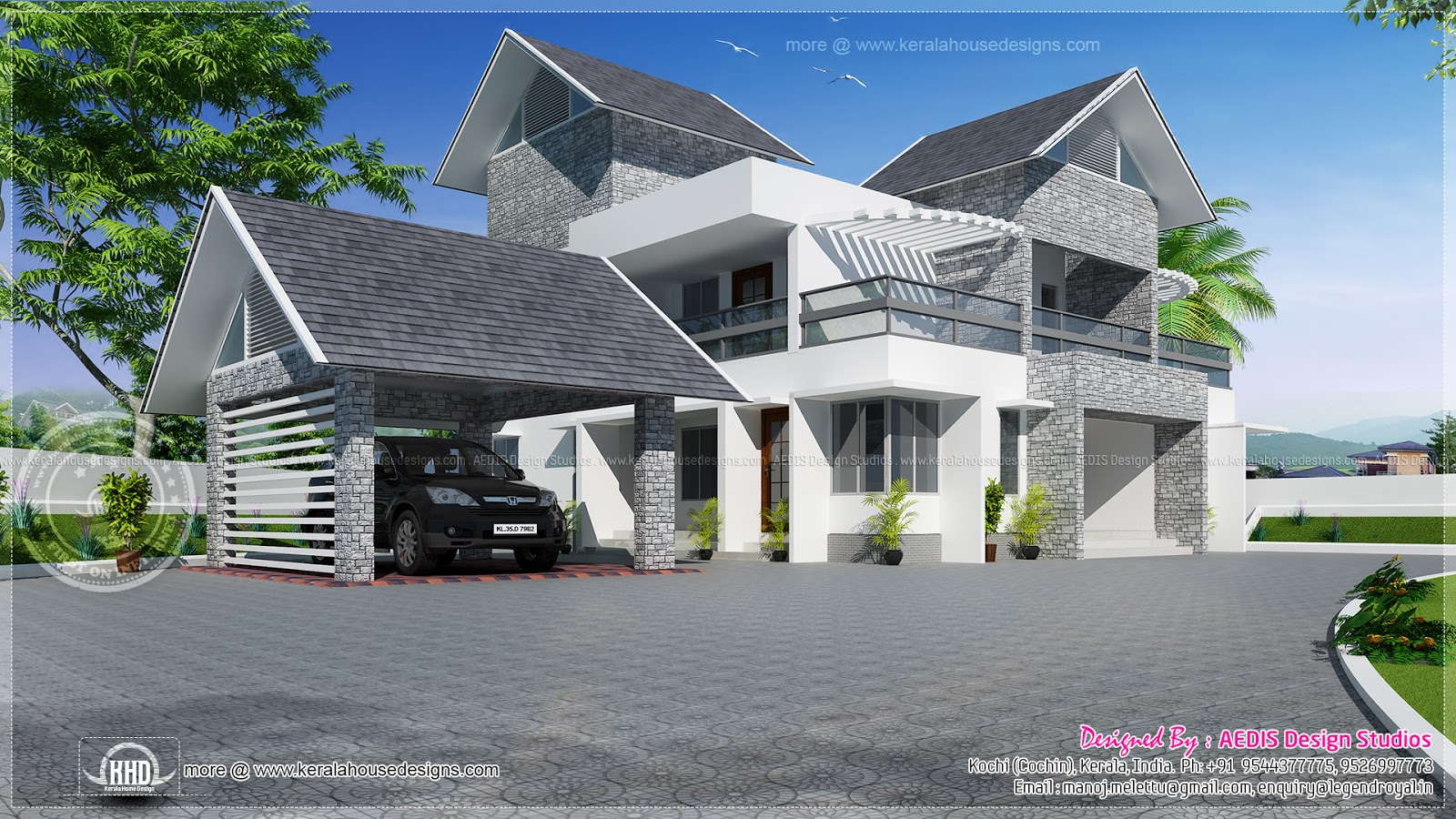 Modern sloping roof luxury house kerala home design and for Modern house design on hillside