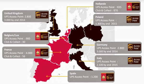 UPS 提貨點數量歐洲各國分佈