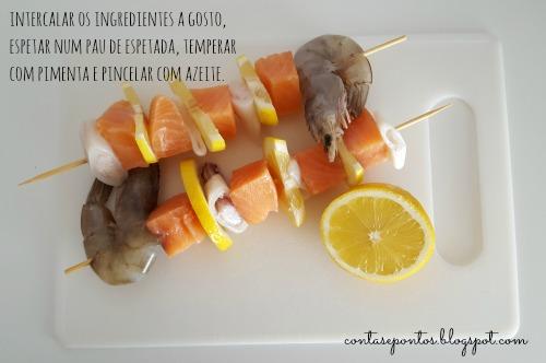 Espetadas de salmão - dieta sem sal adicionado