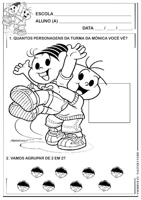 Atividade Numeral 2 e Agrupamentos Turma da Mônica