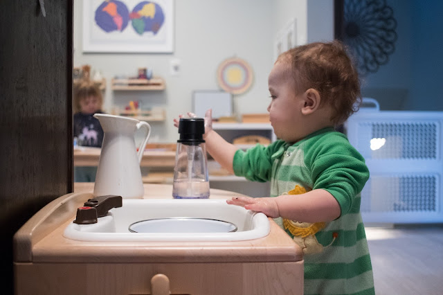 An introduction to hand washing for young Montessori toddlers