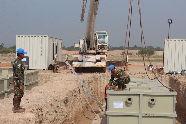 Satgas Kizi TNI Bangun Tempat Pengolahan Air Limbah