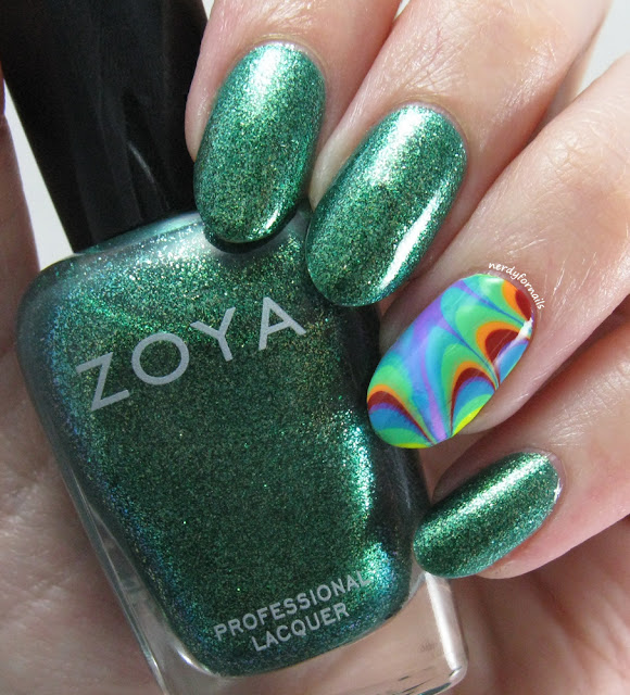 St Patrick's Day Rainbow Water Marble Nail Art with Zoya Ivanka
