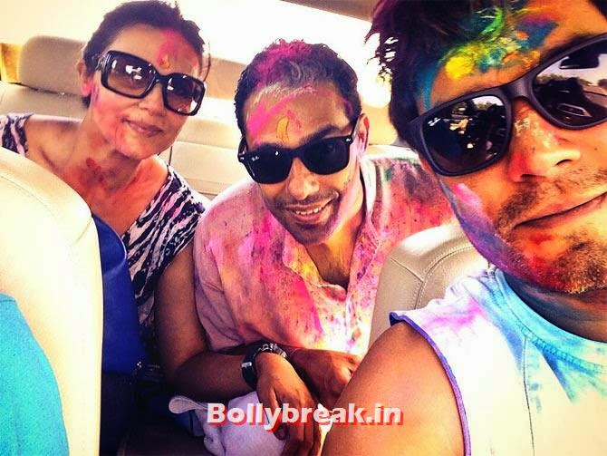 Randeep Hooda with his sister Anjali Hooda and brother in law, Bollywood Celebrities Holi Pics - Hrithik, Sonam, Sonakshi, Jacqueline