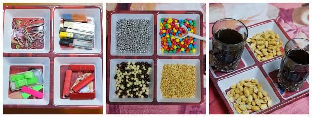 petisqueira usada como porta-trecos no escritório, recepiente para servir confeitos de sorteve, bandeja para copos