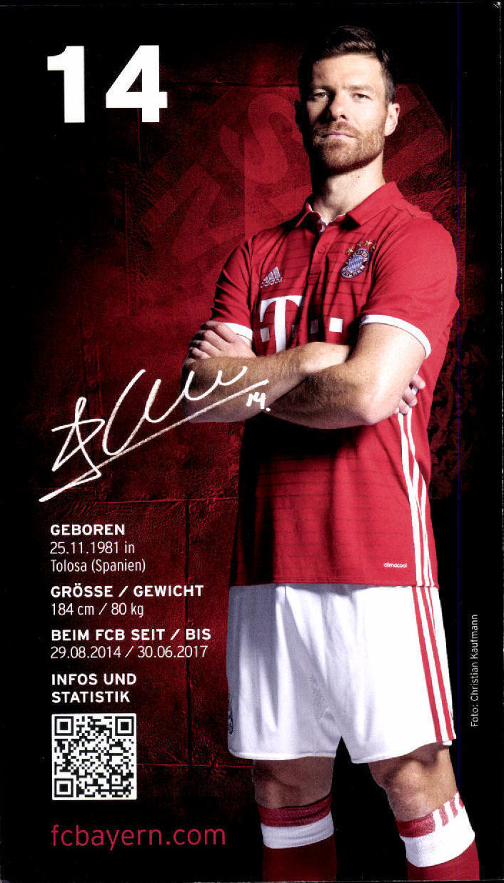 ¿Cuánto mide Xabi Alonso? - Altura - Real height 2016-17%2BFC%2BBayern%2BMunchen%2BAutogrammkarten%2B-Alonso2