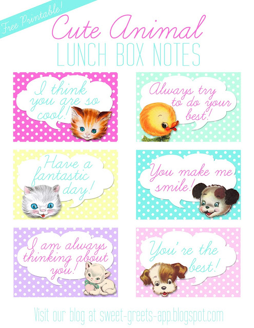Sweet Nothings Free Printable Vintage Animal Lunch Box Notes