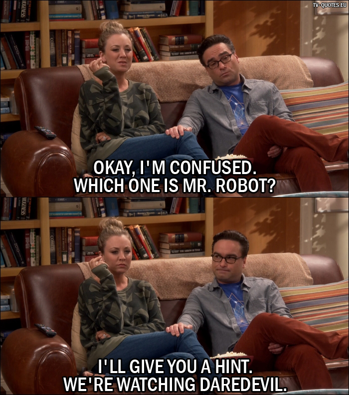 12 Best The Big Bang Theory Quotes from The Hot Tub Contamination (10x05) - Penny Hofstadter: Okay, I'm confused. Which one is Mr. Robot? Leonard Hofstadter: I'll give you a hint. We're watching Daredevil.