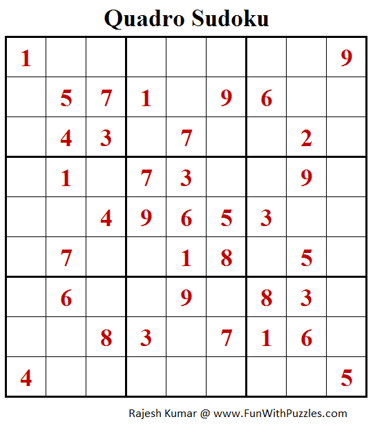 Quadro Sudoku Puzzles (Fun With Sudoku #395)